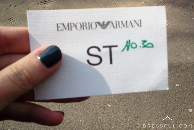 Emporio Armani Fall/Winter 2011/2012 show pass