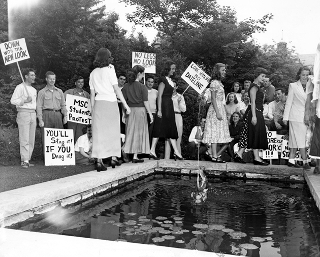Male students protest longer hemlines, circa 1947