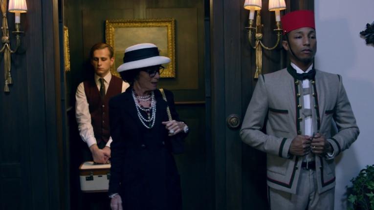 A lift boy's (Pharrell Williams) uniform inspires Coco Chanel (Geraldine Chaplin) to create the famous Chanel jacket