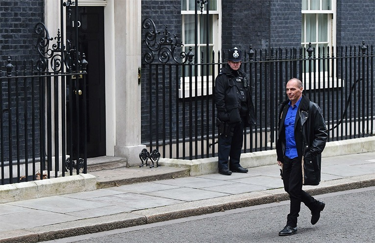 Greece's finance minister Yanis Varoufakis visiting Downing Street. Source: The Independent